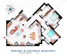 """Famous Television Show Home Floor Plans (16) - Big bang Theory  I am sad though because there's missing a window near their desks... Sheldon specifically states that his spot is perfect in the summer because of the cross breeze created by opening the windows there *points to window we always see* and there *points to """"window"""" by their desks that is missing* :(   But the rest is awesome! :D"""