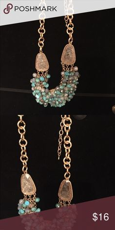 🆕Beaded necklace 18 inch chain Gold This necklace is aqua color beads with a gold chain very pretty Jewelry Necklaces