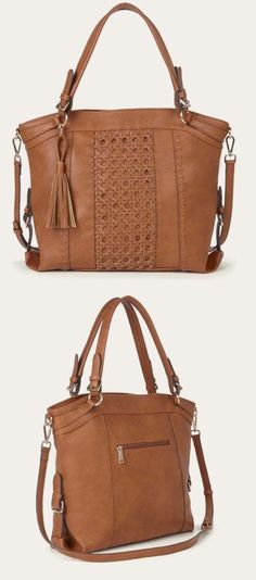 Roomy tan tote bag with gold-toned hardware, a woven panel, removable tassel and removable crossbody strap