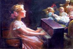 Charles Courtney Curran  (1861-1942)   —  The Concert,  1909  (825×558)