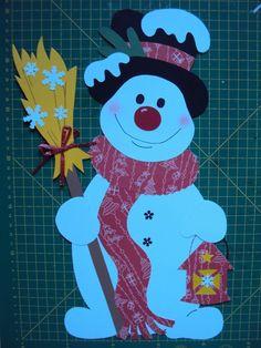 Fensterbild Tonkarton Winter:Ein Schneemann mit Besen und Laterne 35,0cmx23,0cm 2 • EUR 3,25