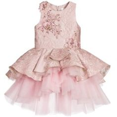 Mischka Aoki Girls Kiss of Sunshine Gold Silk Chiffon & Tulle Dress Silk Jacquard Dress with Jewels & Sequins Baby Girl Party Dresses, Little Girl Dresses, Girls Dresses, Flower Girl Dresses, Frilly Dresses, Tulle Dress, Silk Dress, Girls Dress Shoes, Dress Girl