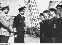 Grand Admiral Dönitz and Hitler Youth leader Axmann with Hitler Youth sailors aboard training vessel Horst Wessel, Nov 1943.