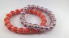 Shell bracelet, Purple Shell stretchy bracelet, Orange shell stretchy bracelet, shell bracelet, purple shell bracelet, summer bracelet