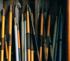 A stack of oars in a boat builder's shop in Southwest Harbor, Maine. Mamiya M7, Velvia