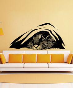 Hiding Cat Vinyl Wall Decal Sticker Kitten