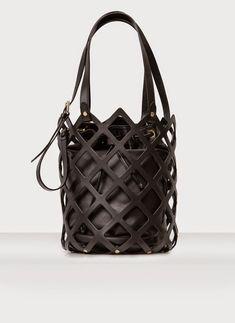 Leather cage bucket bag, chic black handbag // Uterque