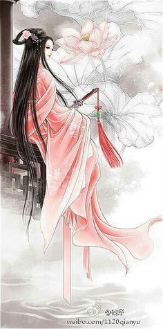 A chinese girl Geisha Kunst, Geisha Art, Japon Illustration, Botanical Illustration, Art Asiatique, Beautiful Fantasy Art, China Art, Art Graphique, Japan Art