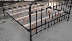 Here is an example of the wooden x supports that should be used on all antique iron beds. Supports such as this will take the stress, load and additional weight that comes with todays modern mattresses, off the iron side rails and cast iron hitches. Antique Iron Beds, Wrought Iron Beds, Antique Metal, Metal Bed Rails, Metal Beds, Brass Bed, Old Beds, Bed Slats, Wooden Slats