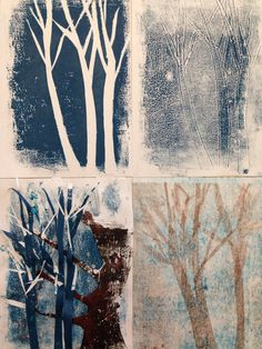 Series of mono prints using paper templates. Gcse Art Sketchbook, Collagraph, Linoprint, Landscape Drawings, Sketchbook Inspiration, Art For Art Sake, Art Studies, Tree Art, Painting Techniques