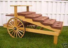 Flower Carts On Wheels   WOODEN FLOWER/PRODUCE DISPLAY CART W/ WAGON WHEELS