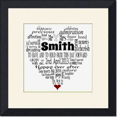 WEDDING Day Gift Valentine typography word art cloud heart Personalised DIY Printable wall print bride groom on Etsy, $10.26