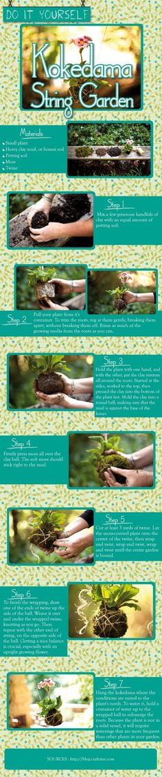 Beautiful, fun and creative – everything DIY project should be and this instructographic on how to create your own Kokedama Hanging Plant with String. All you need is a small plant and some twine and a little bit of work and this plant and flower can be hanging from your porch in no time. #hangingorchids