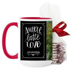 Whole Latte Love Mug, Red, with Ghirardelli Peppermint Bark, 15 oz, Black