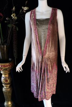 ~1920s Beaded Velvet and Lame Dress~