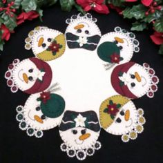 Snow Ladies Wool Applique Candle Mat Pattern . Cath's Pennies Designs http://www.cathspenniesdesigns.com