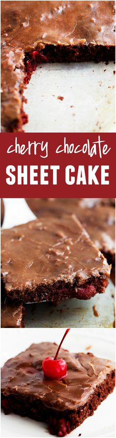 This Cherry Chocolate Sheet Cake - cake mix, eggs, cherry pie filling Dessert Simple, Köstliche Desserts, Dessert Recipes, Cherry Desserts, Sheet Cake Recipes, Sheet Cakes, Cherry Recipes, Just Cakes, Let Them Eat Cake