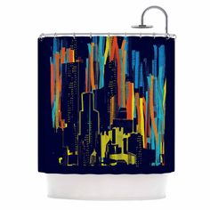 """Frederic Levy-Hadida """"Strippy City"""" Blue Multicolor Shower Curtain"""