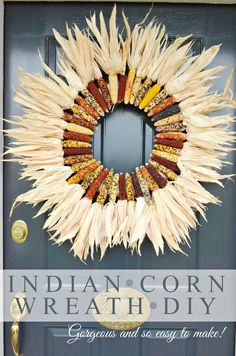 INDIAN CORN WREATH DIY- Make this beautiful fall wreath for your front door in about 30 minutes! Even if you are not crafty you can do this! Thanksgiving Crafts, Thanksgiving Decorations, Fall Crafts, Fall Decorations, Seasonal Decor, Holiday Crafts, Halloween Decorations, Diy Crafts, Diy Fall Wreath