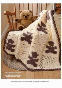 Teddy bear granny squares make this crochet blanket perfect for a newborn