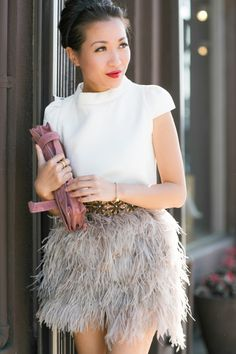 Feathered skirt.