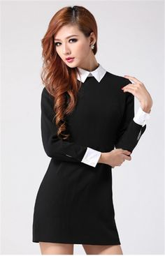 71fa43ff0b7 Elegant Women Ladies Fit Slim Temperament White Lapel Zip Back Long Sleeve  Dress