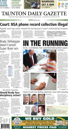 The front page of the Taunton Daily Gazette for Friday, May 8, 2015.