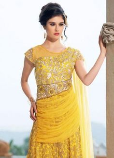 Product Code 38916 - Yellow Embroidered Fab Georgette Designer
