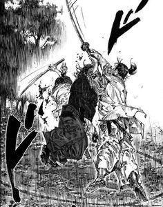 Miyamoto Musashi continues to fight against all oncomers, despite his limitations. From Vagabond Chapter Manga Artist, Comic Artist, Ink Illustrations, Illustration Art, Martial Arts Manga, Samurai Artwork, Miyamoto Musashi, Fantastic Art, Awesome