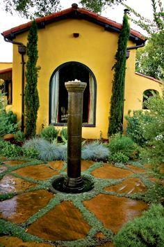 Like the flagstone layout Spanish Bungalow - mediterranean - landscape - san luis obispo - Jeffrey Gordon Smith Landscape Architecture Landscape Architecture, Landscape Design, Garden Design, Patio Design, Front Design, Spanish Bungalow, Spanish Style, Spanish Revival, Spanish Colonial