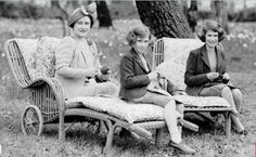 The Queen Mother, Princess Elizabeth and Princess Margaret -  learning to knit.