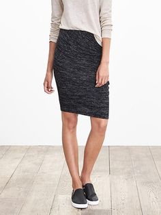 Shirred Knit Pencil Skirt