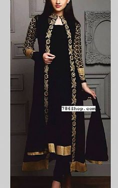 Black Crinkle Chiffon Suit Buy Pakistani Dresses In Usa At Pakistani Party Wear Dresses, Pakistani Dresses Online, Designer Party Wear Dresses, Kurti Designs Party Wear, Pakistani Dress Design, Pakistani Outfits, Indian Outfits, Pakistani Bridal, Fancy Dress Design
