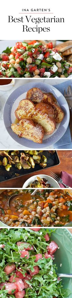 Ina Garten's Most Delicious Vegetarian Dishes! Easy Vegetarian Dinner, Tasty Vegetarian Recipes, Going Vegetarian, Vegetarian Recipes Dinner, Vegetarian Cooking, Vegetable Recipes, Healthy Recipes, Vegetable Salad, Vegetarian Sandwiches