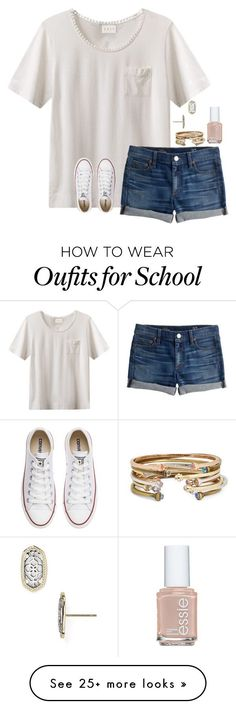 """day 2: last day of school"" by jazmintorres1 on Polyvore featuring EAST, J.Crew, Kendra Scott, Converse, Essie and schoolsoutmadiandashe"