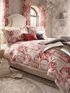 Tulip design bedding and soft furnishings by Laurence Lewellyn Bowen Bedroom Bed, Bedrooms, Showcase Design, White Furniture, Bed Design, Soft Furnishings, Colorful Decor, Duvet Cover Sets, Accent Decor