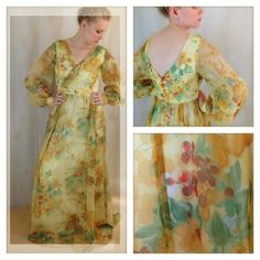 Vintage Floral Maxi Dress With Empire Waist and Full Billowy Sleeves Gorgeous Fall Colors