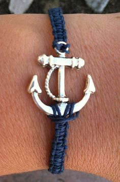 NAVY Anchor Bracelet by krystleskrafts on Etsy, $5.00 NEW COLOR