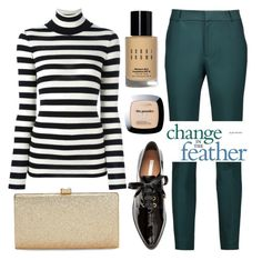 """""""Unlimited boundaries exist when you free your spirit"""" by eclectic-chic ❤ liked on Polyvore featuring Raoul, Laneus, La Regale, Bobbi Brown Cosmetics, L'Oréal Paris, stripes, teal and slacks"""