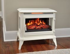 Comfort Smart Jackson Cream Infrared Electric Fireplace Stove with Remote Control - Electric Stove Fireplace, Free Standing Electric Fireplace, Electric Fireplaces Direct, Electric Fireplace Reviews, Fireplace Inserts, Fireplace Ideas, Basement Fireplace, Cottage Fireplace, White Fireplace