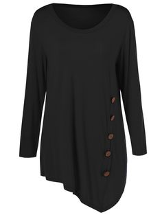 Plus Size Inclined Buttoned Blouse - Black - - Women's Clothing, Plus Size Women's Clothing # Top Fashion, Curvy Fashion, Plus Size Fashion, Fashion Site, Mens Fashion, India Fashion, Japan Fashion, Cheap Fashion, Fashion Rings