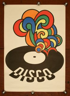 This stunning East German poster made with silk-screen print technique, is bringing back the 70s funky-soul-disco atmosphere with its lively retro graphics. You can almost hear the music as the colorful sound-flames emerge from the vinyl disc with Disco written on it. Dimensions: 22.6 x 32.2 or 57.5cm x 82cm Condition Very Good Shipping: -We are able to do combined shipping: multiple charts can be safely shipped in the same package (2-3). -Overages in shipping will be refunded via PayPal…