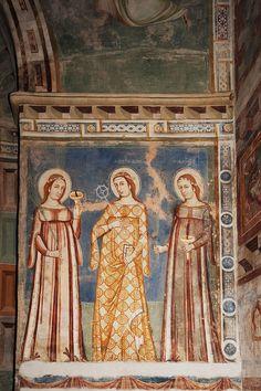 Castel San Pietro, Chiesa Rossa, Mendrisiotto, Canto, renzo dionigi. Church and murals completed in 1345.