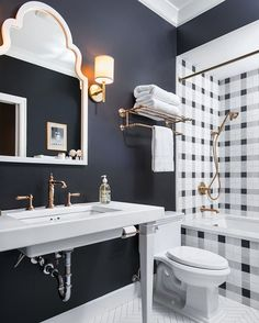 Since you all loved this shower tile, see the full picture of our high-contrast guest bath on the blog (and get all the @kohlerco sources too!) {direct link in profile} #kohlerideas #wilsonmoderncolonial  @cletile @annsacks