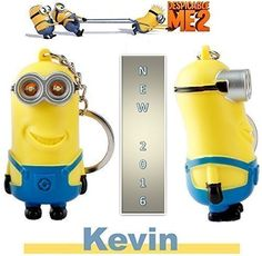 """2016 New Minions Toys From Animation Movie Despicable Me/Minions - 3D """"Kevin"""" Minions Key Ring with LED Light and Sound Keychain Figurine - Birthday Adults and Children Toys"""