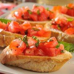 bruschetta: tomato, basil, olive oil, salt, garlic on toasted french bread