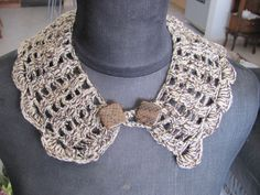 HANDMADE CROCHETED COLLAR NECKLESS SOFT BROWN COLORS+GOLD THREAD ONE OF A KIND   Clothing, Shoes & Accessories, Women's Accessories, Collar Tips   eBay!