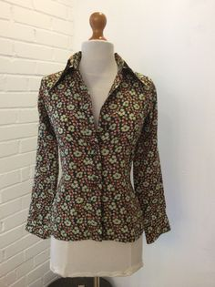 70's French Retro Blouse in green multi print size 10 Al'son of Paris slim fit | eBay ON Sale now!!
