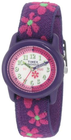 This quartz analog watch features a small flower that rotates around the dial with the hands and a comfortable elastic fabric strap (for better dirt and stain resistance) with pink flowers against a purple base.