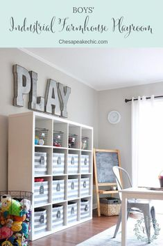 Boys' Industrial Farmhouse Playroom-Reveal - Chesapeake Chic Our boys' playroom got a major purge and a complete decor overhaul. Check out how we gave our boys' babyish playroom an industrial farmhouse makeover. Playroom Design, Playroom Decor, Garage Playroom, Basement Play Area, Blue Playroom, Playroom Paint Colors, Playroom Curtains, Sunroom Playroom, Small Playroom